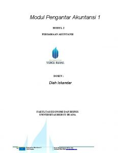 Modul Pengantar Akuntansi 1 MODUL 2 PERSAMAAN AKUNTANSI