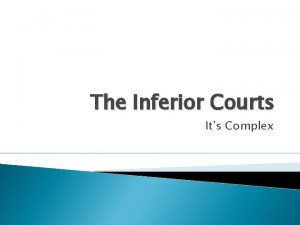 The Inferior Courts Its Complex Lower Federal Courts