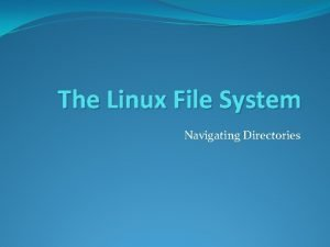The Linux File System Navigating Directories The Linux