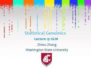 Statistical Genomics Lecture 13 GLM Zhiwu Zhang Washington