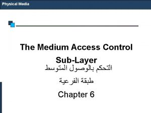 Physical Media The Medium Access Control SubLayer Chapter