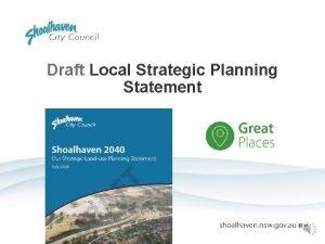 Draft Local Strategic Planning Statement Draft Local Strategic