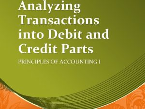 Analyzing Transactions into Debit and Credit Parts PRINCIPLES