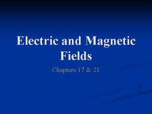 Electric and Magnetic Fields Chapters 17 21 Electric
