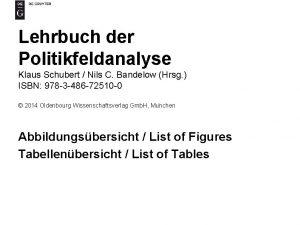 Lehrbuch der Politikfeldanalyse Klaus Schubert Nils C Bandelow