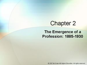 Chapter 2 The Emergence of a Profession 1885