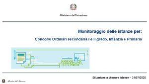 Ministero dellIstruzione Monitoraggio delle istanze per Concorsi Ordinari