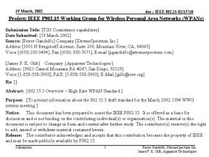 19 March 2002 doc IEEE 802 15 02157