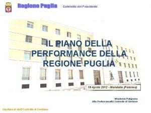Gabinetto del Presidente IL PIANO DELLA PERFORMANCE DELLA