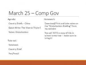March 25 Comp Gov Agenda Country Briefs China