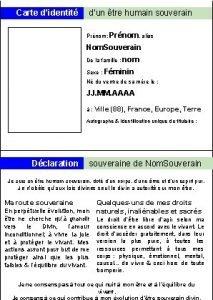 Carte didentit dun tre humain souverain Prnom Prnom