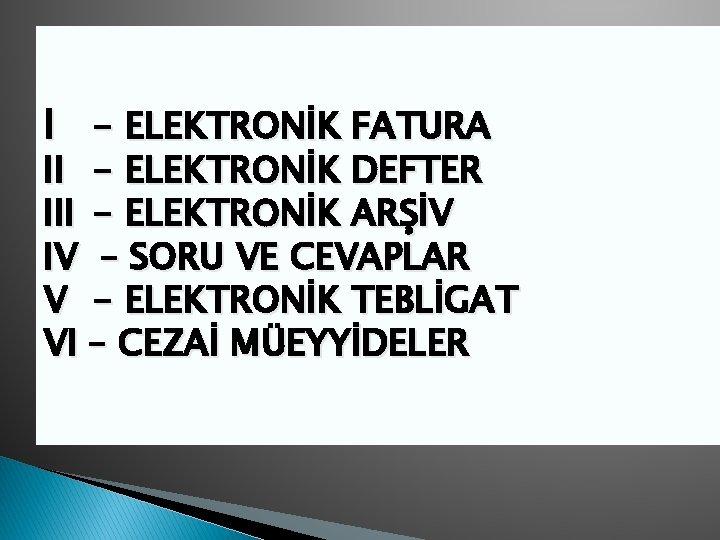 I ELEKTRONK FATURA II ELEKTRONK DEFTER III ELEKTRONK