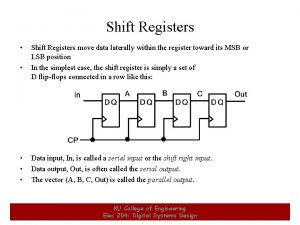 Shift Registers 1 Shift Registers move data laterally