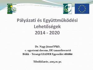 Plyzati s Egyttmkdsi Lehetsgek 2014 2020 Dr Nagy