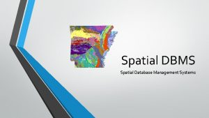 Spatial DBMS Spatial Database Management Systems Introduction SDBMS