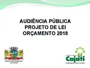 AUDINCIA PBLICA PROJETO DE LEI ORAMENTO 2018 TPICOS
