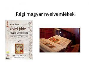 Rgi magyar nyelvemlkek Szrvnyemlk A szrvnyemlk egy nyelv