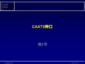 IT audit training for CAATS 3 September 2004