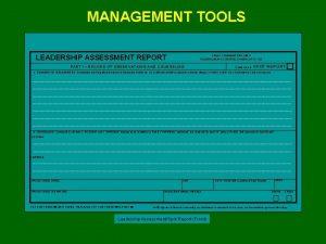 MANAGEMENT TOOLS LEADERSHIP ASSESSMENT REPORT CADET COMMAND REG