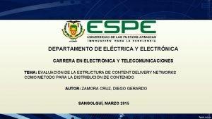 DEPARTAMENTO DE ELCTRICA Y ELECTRNICA CARRERA EN ELECTRNICA