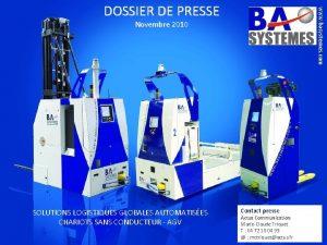 www basystemes com DOSSIER DE PRESSE Novembre 2010