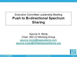 Executive Committee Leadership Meeting Push to Bidirectional Spectrum