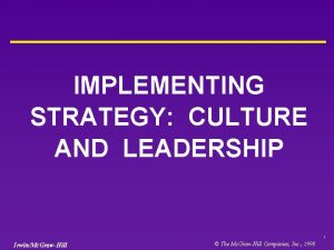IMPLEMENTING STRATEGY CULTURE AND LEADERSHIP 1 IrwinMc GrawHill