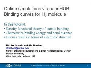 Online simulations via nano HUB Binding curves for