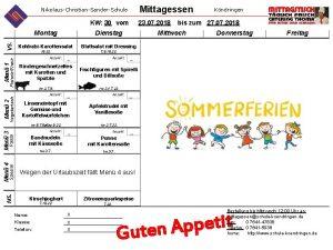 Mittagessen NikolausChristianSanderSchule Dienstag Mittwoch Donnerstag Freitag KohlrabiKarottensalat Blattsalat