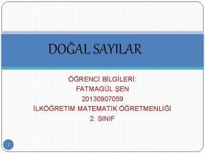 DOAL SAYILAR RENC BLGLER FATMAGL EN 20130907059 LKRETM