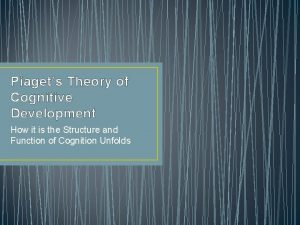 Piagets Theory of Cognitive Development How it is