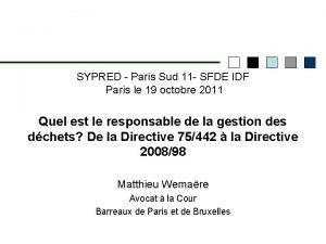 SYPRED Paris Sud 11 SFDE IDF Paris le