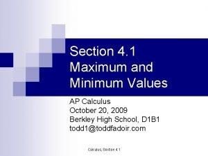 Section 4 1 Maximum and Minimum Values AP