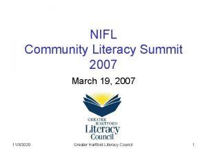 NIFL Community Literacy Summit 2007 March 19 2007