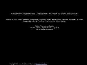 Proteomic Analysis for the Diagnosis of Fibrinogen Achain