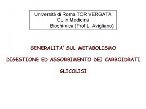 Universit di Roma TOR VERGATA CL in Medicina