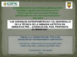 UNIVERSIDAD DE LAS FUERZAS ARMADAS ESPE VICERRECTORADO DE