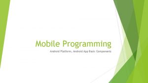 Mobile Programming Android Platform Android App Basic Components