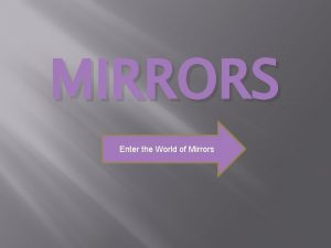 MIRRORS Enter the World of Mirrors Objectives Learning