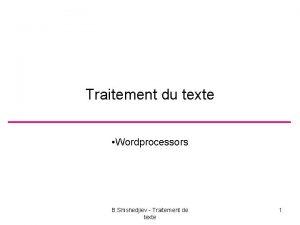 Traitement du texte Wordprocessors B Shishedjiev Traitement de