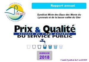 Rapport annuel Syndicat Mixte des Eaux des Monts