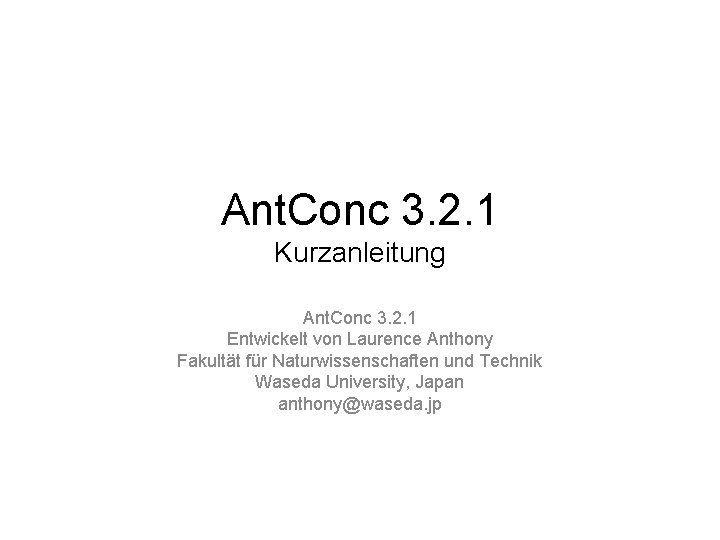 Ant Conc 3 2 1 Kurzanleitung Ant Conc