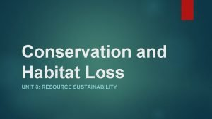 Conservation and Habitat Loss UNIT 3 RESOURCE SUSTAINABILITY