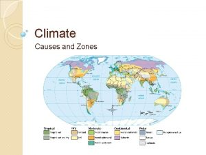 Climate Causes and Zones Climate Climate of a