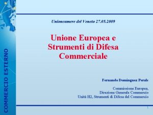 COMMERCIO ESTERNO Unioncamere del Veneto 27 05 2009