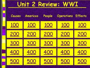 Unit 2 Review WWI Causes Operations Effects Americas