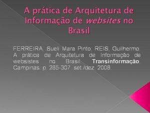 A prtica de Arquitetura de Informao de websites