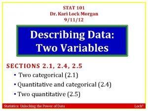 STAT 101 Dr Kari Lock Morgan 91112 Describing