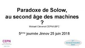 Paradoxe de Solow au second ge des machines