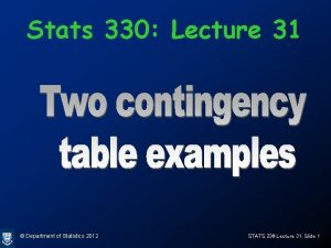 Stats 330 Lecture 31 Department of Statistics 2012